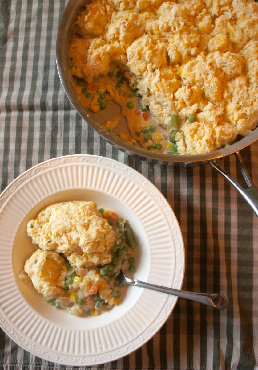 Veggie Pot Pie Skillet with Cheddar Biscuits