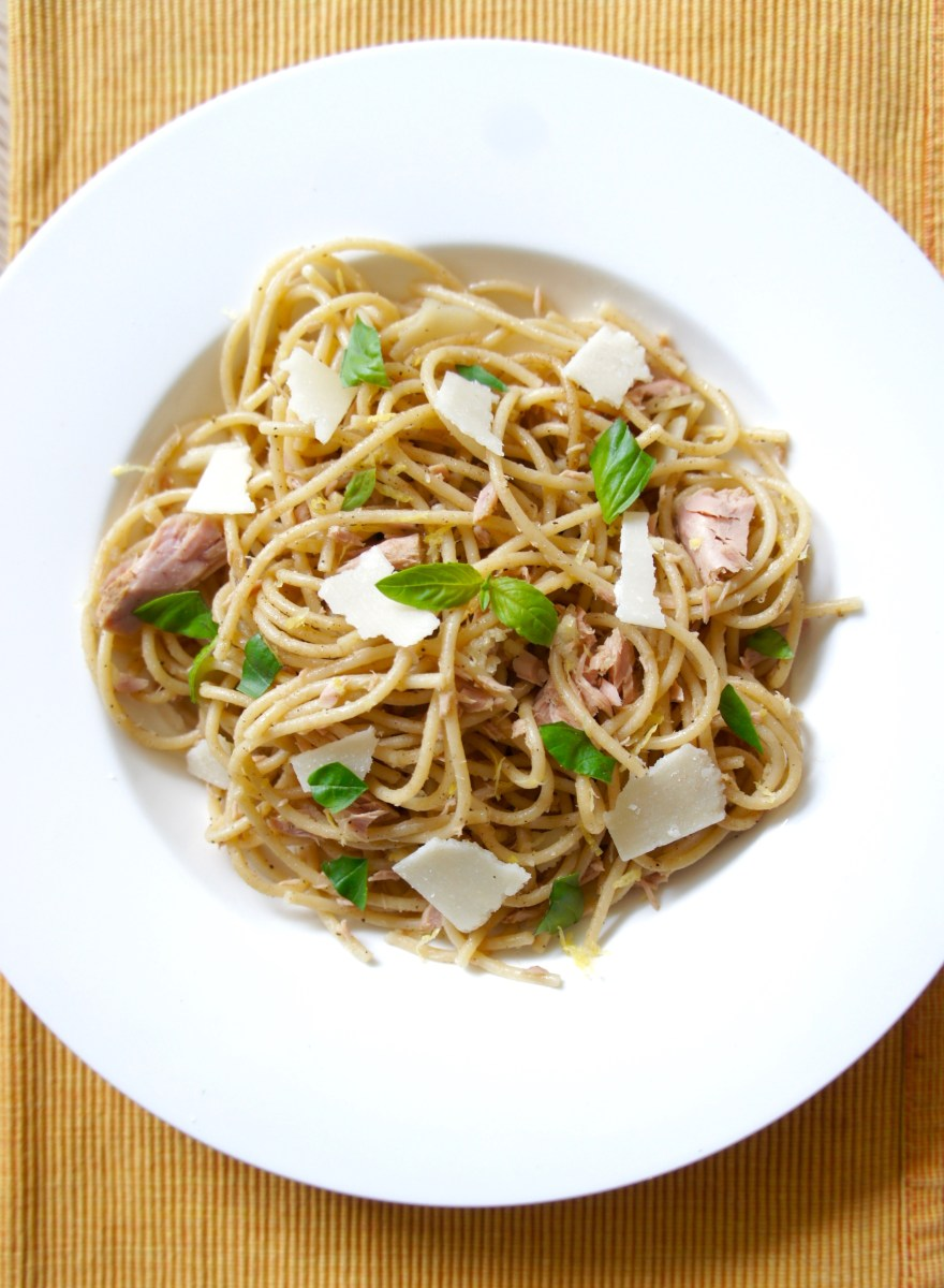 Spaghetti with Tuna, Basil, and Lemon