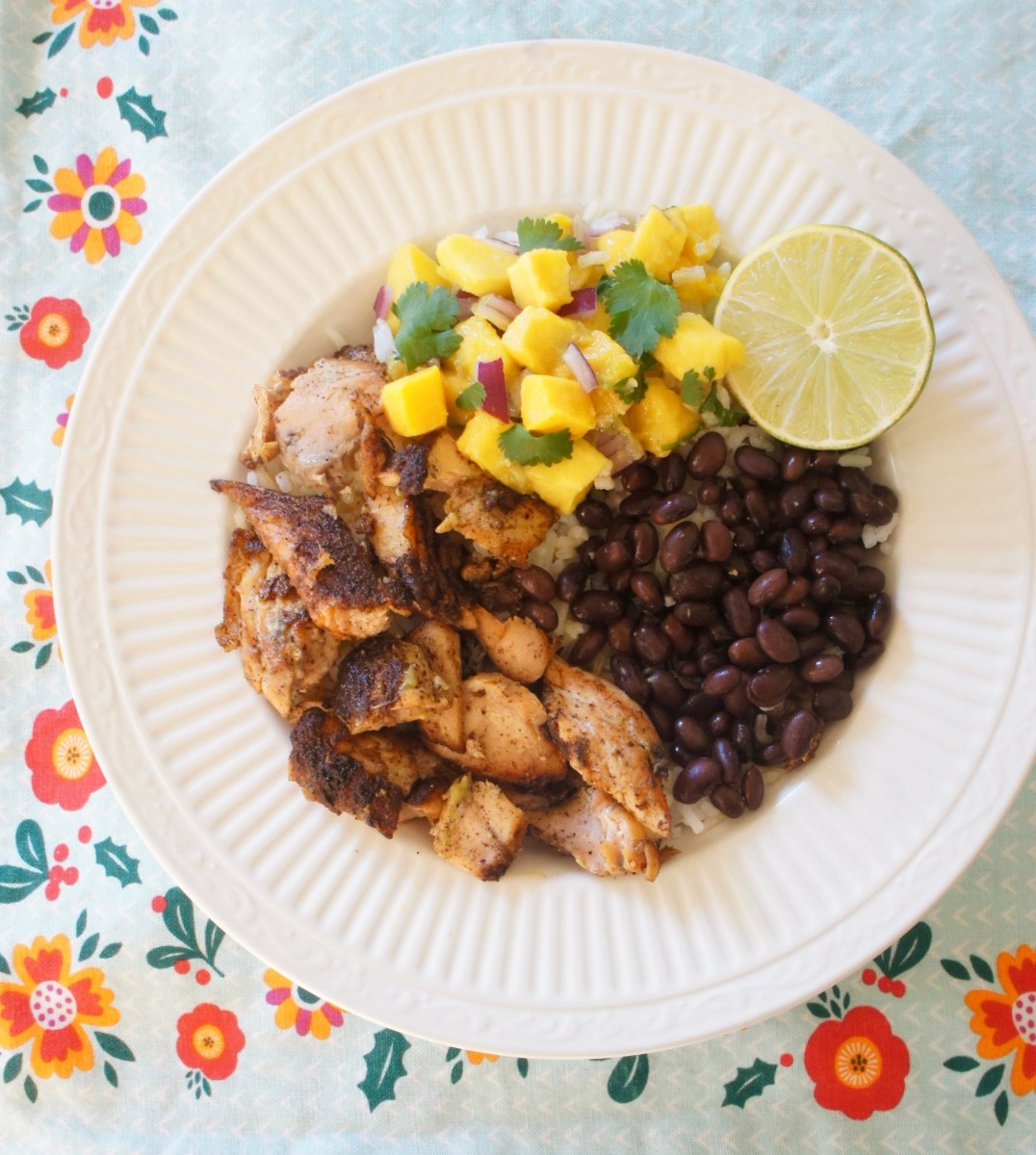Jerk Salmon Bowl with Avocado-Mango Salsa