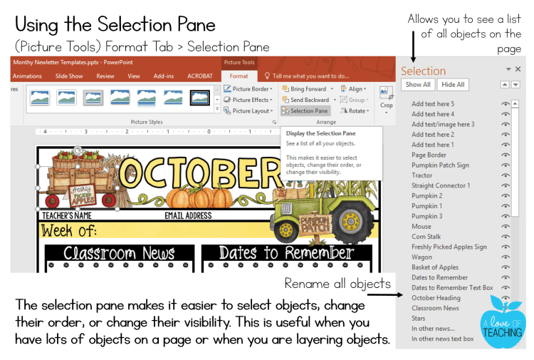 PowerPoint: Using the Selection Pane