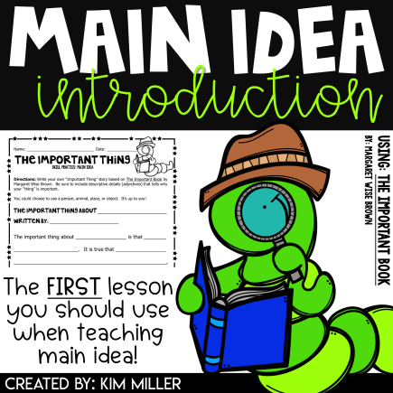 Main Idea Introduction Using The Important Book