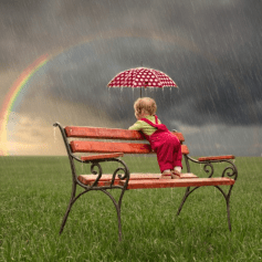 Rainbow - Baby Seat Rain Spotty Umbrella
