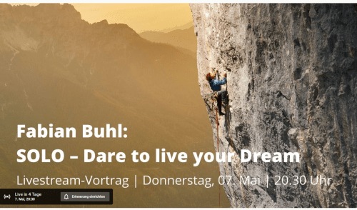 Artikelbild zu Artikel Live Vortrag von Fabian Buhl: SOLO – Dare to live your dream
