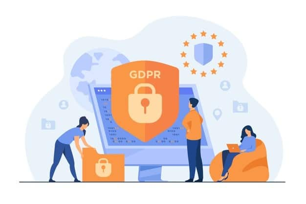 GDPR graphic with computer and files
