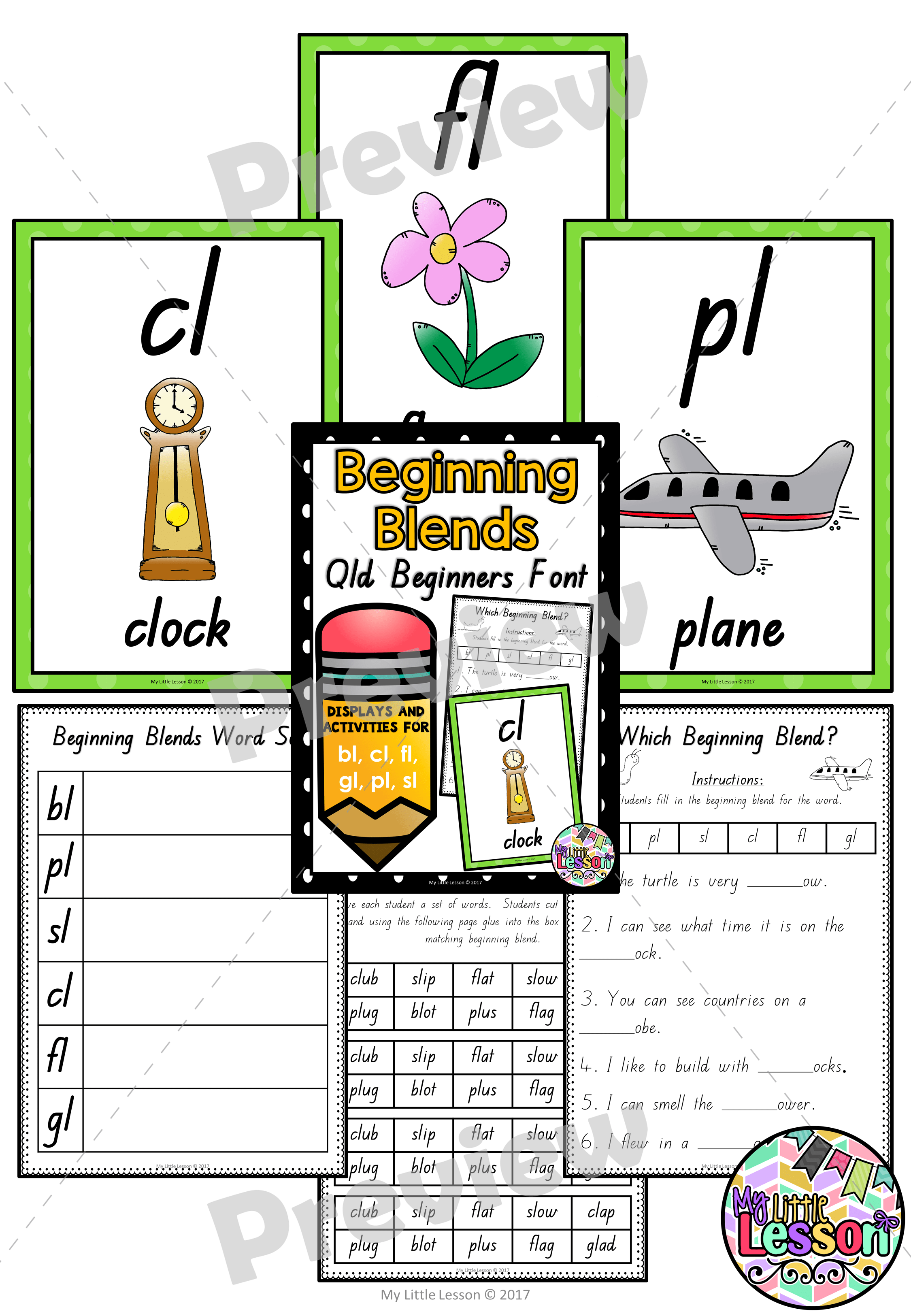 Sl Blend Worksheet For Kindergarten