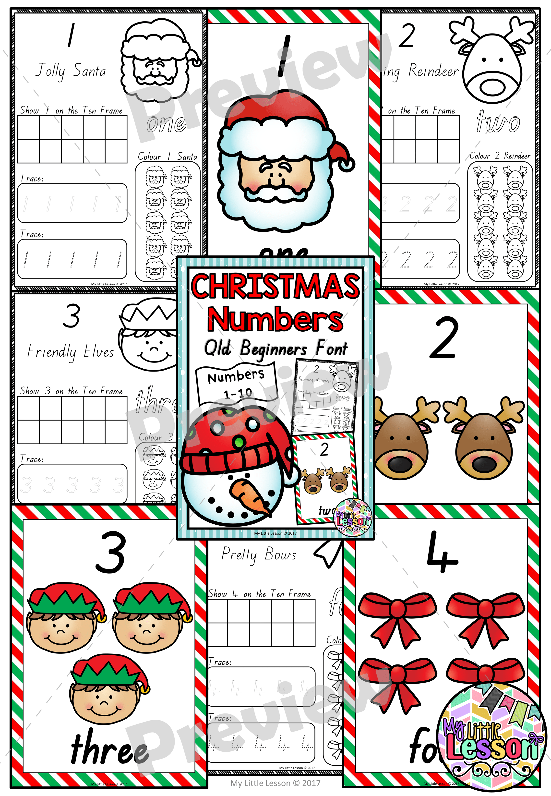 Christmas Numbers 1 10 Qld Beginners Font