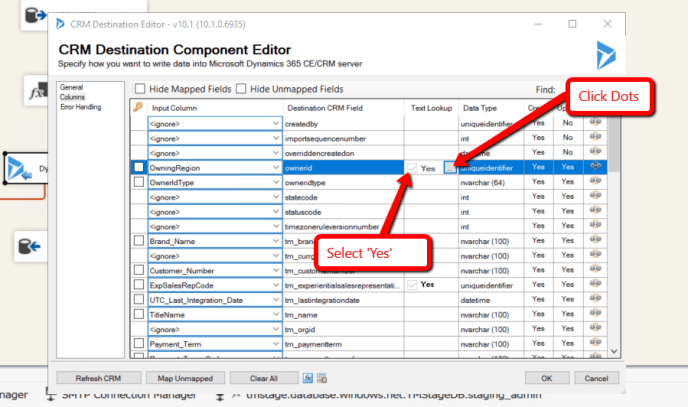 Dynamics CRM SSIS Manually Specifying Lookup Option