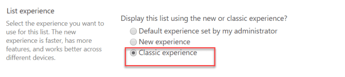 sharepoint classic experience