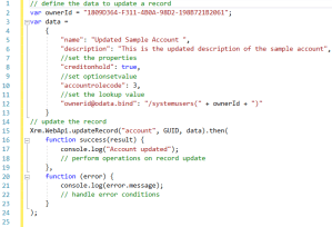 Xrm.WebApi.updateRecord function