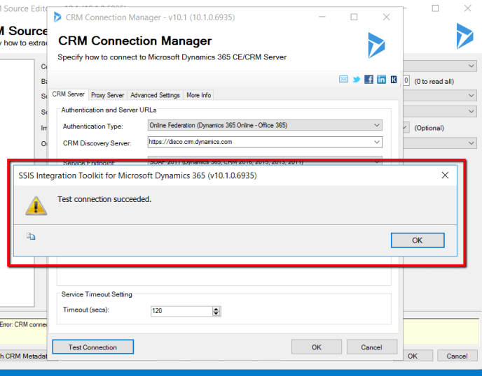 SSIS Integration toolkit test connection succeeded