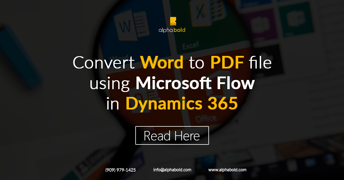 Convert Word to PDF file using Microsoft Flow in Dynamics 365