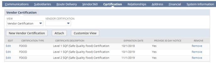 Vendor Record