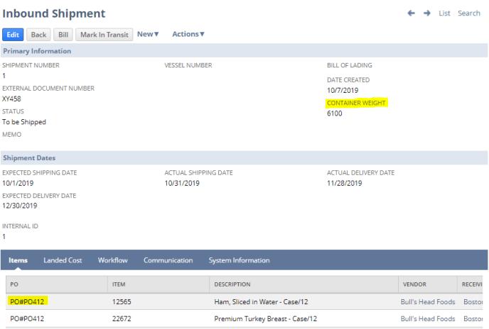 inbound shipment record