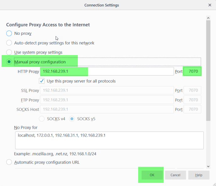 Manual Proxy Configurations