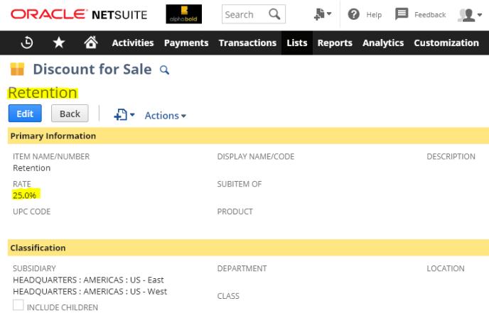 non-posting discount item