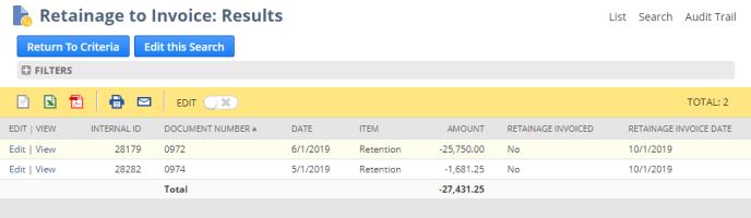 generated Retainage Invoices