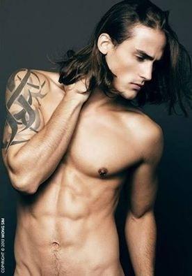 Man long brown hair