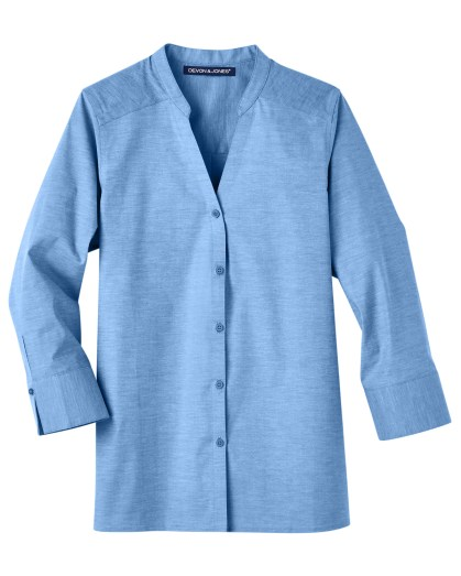Devon & Jones Ladies' Crown Collection™ Stretch Pinpoint Chambray 3/4 Sleeve Blouse