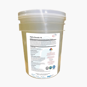 Large tub of Food Safe Alpha Descaler FG filled with descaling solution