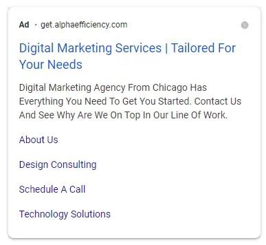 google ads sitelinks for alpha efficiency