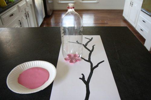 Cherry Blossom Art Made with Soda Bottle | alphamom.com