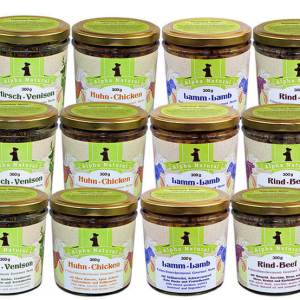 mixpaket-300g-12er-sparpaket-mit-4-sorten-muskelfleisch-rind-lamm-huhn-ente-getreidefreies-purinarmes-glutenfreies-hundefutter-glas-alpha-natural
