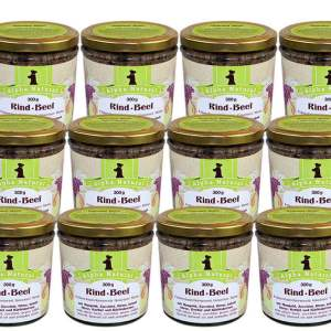 weide-rind-300g-12er-sparpaket-purinarmes-glutenfreies-hundefutter-glas-muskelfleisch-mangold-zucchini-birne-leinöl-hirse-kerbel-kuerbiskerne-alpha-natural