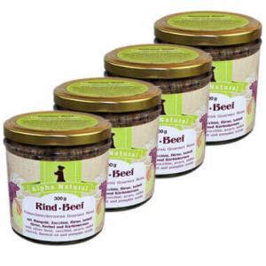 weide-rind-300g-4er-testpaket-purinarmes-glutenfreies-hundefutter-glas-muskelfleisch-mangold-zucchini-birne-leinöl-hirse-kerbel-kuerbiskerne-alpha-natural