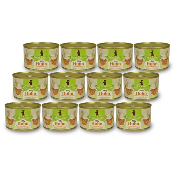 freiland-huhn-400g-12er-sparpaket-purinarmes-glutenfreies-hundefutter-dose-muskelfleisch-okra-karotte-apfel-sellerie-pfefferminze-vollkornreis-alpha-natural