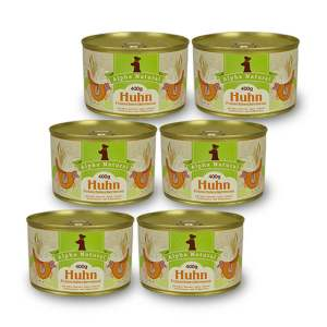 freiland-huhn-400g-6er-testpaket-purinarmes-glutenfreies-hundefutter-dose-muskelfleisch-okra-karotte-apfel-sellerie-pfefferminze-vollkornreis-alpha-natural