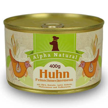 freiland-huhn-400g-purinarmes-glutenfreies-hundefutter-dose-muskelfleisch-okra-karotte-apfel-sellerie-pfefferminze-vollkornreis-alpha-natural