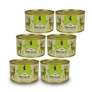 hirsch-400g-6er-testpaket-getreidefreies-purinarmes-glutenfreies-hundefutter-dose-muskelfleisch-pastinake-kuerbis-cranberries-birne-hagebutte-aronia-alpha-natural