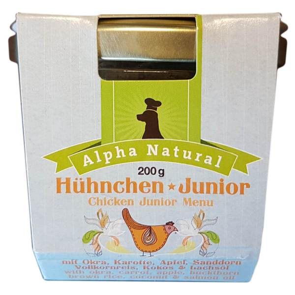 freiland-huehnchen-junior-200g-purinarmes-glutenfreies-hundefutter-glas-muskelfleisch-okra-karotte-apfel-sanddorn-vollkornreis-kokos-lachsoel-alpha-natural