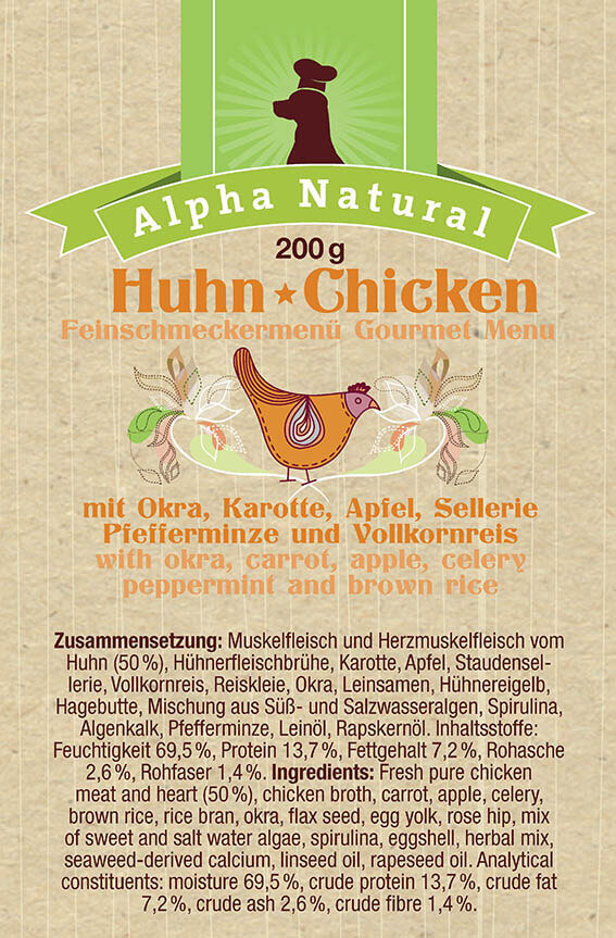 freiland-huhn-zusammensetzung-purinarmes-glutenfreies-hundefutter-muskelfleisch-okra-karotte-apfel-sellerie-pfefferminze-vollkornreis-alpha-natural
