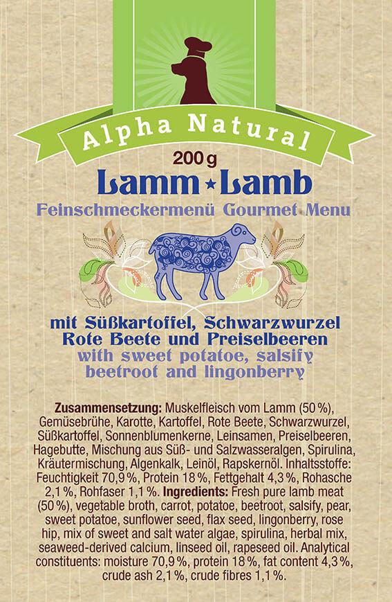 weide-lamm-zusammensetzung-getreidefreies-purinarmes-glutenfreies-hundefutter-muskelfleisch-suesskartoffel-schwarzwurzel-rote-beete-preiselbeere-alpha-natural