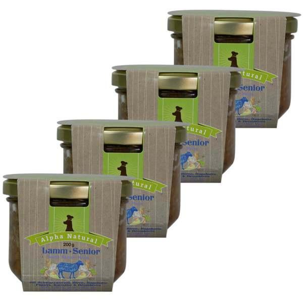 weide-lamm-senior-200g-4er-testpaket-getreidefreies-purinarmes-glutenfreies-hundefutter-glas-muskelfleisch-schwarzwurzel-kartoffel-birne-hagebutte-papaya-alpha-natural