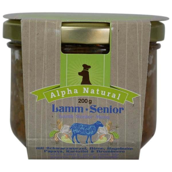 weide-lamm-senior-200g-getreidefreies-purinarmes-glutenfreies-hundefutter-glas-muskelfleisch-schwarzwurzel-kartoffel-birne-hagebutte-papaya-alpha-natural