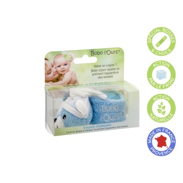 Bobo the bear (blue) soothes and prevents the appearance of bumps