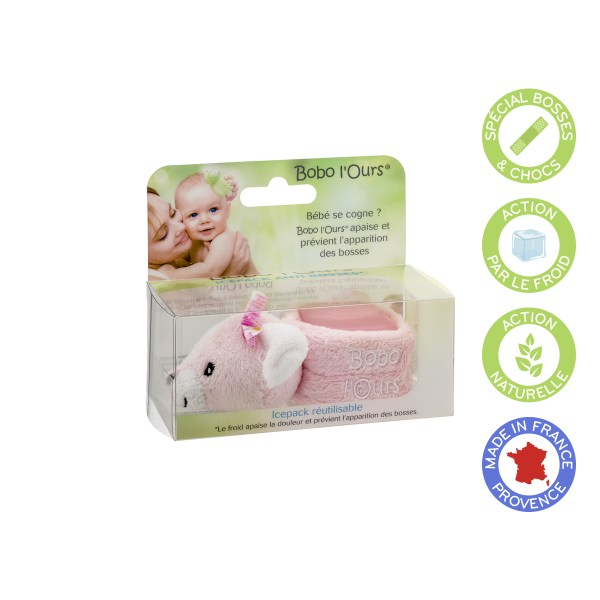 Bobo the bear (pink) soothes and prevents the appearance of bumps