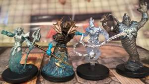 From left: New water myrmidon, old water archon, new air myrmidon, old air archon