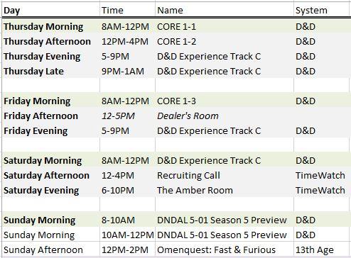 Gen Con 16 schedule