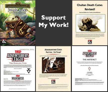 Support my work. Links to my product page on the DMs Guild.