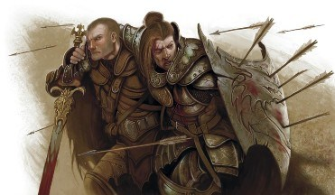 One warrior helps another wounded warrior under a hail of arrows.