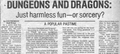 "Image from a newspaper with the headline ""Dungeons and Dragons: Just harmless fun - or sorcery?"""