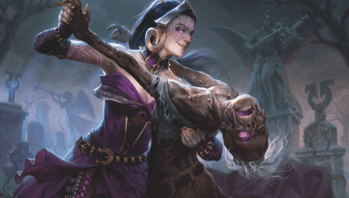 Macabre Waltz, by Willian Murai, depicts a necromancer (Liliana Vess) dancing with a zombie.