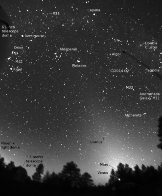 Zodiacal light from NOFS, 2015-02-11, with annotations (click to enlarge)