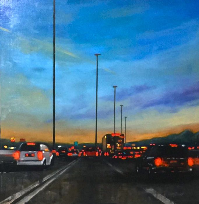 Traffic oil painting, evening sunset, commute