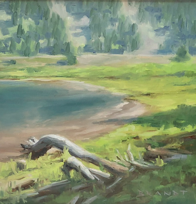 landscape painting lake, oil painting