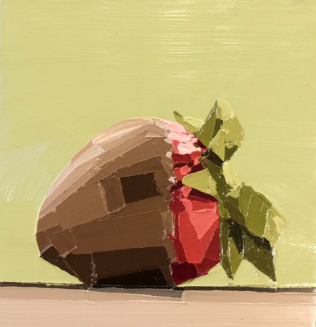 Oil painting, chocolate covered strawberry