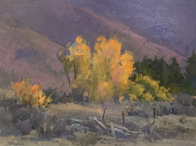 oil painting, landscape, yellow trees